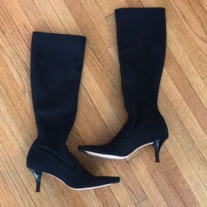 Cole Haan stretchy fabric heeled Trisha boots